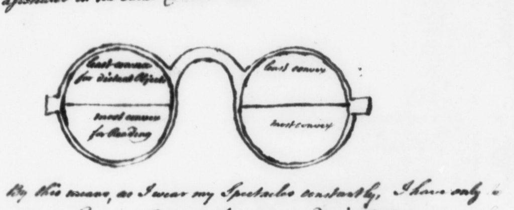 Benjamin Franklin Letter describing bifocals spectacles La carta describe la curvatura de las lentes, para poder hacer un encargo similar con este esquema.