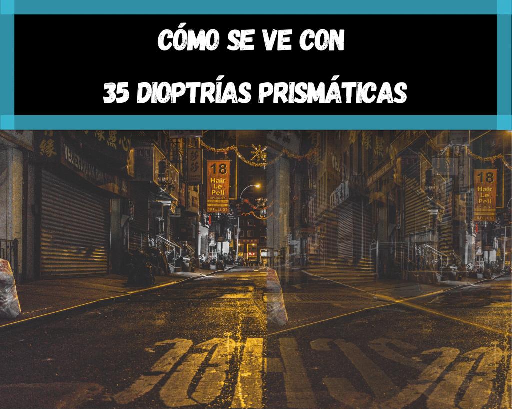 Tratamiento para la diplopia sin ejercicios a base de prismas oftálmicos. La cantidad de dioptrías prismáticas define la distancia de la desviación.